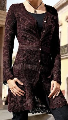 Irish lace, crochet, crochet patterns, clothing and decorations for the house, crocheted. Gilet Crochet, Crochet Coat, Crochet Jacket, Freeform Crochet, Crochet Cardigan, Irish Crochet, Crochet Clothes, Crochet Dresses, Irish Lace