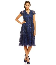 2639729c1fb Brianna Cap Sleeve Lace Scallop Hem Embroidered Sequin A-Line Dress