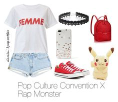 """""""Pop Culture ConventionX Rap Monster"""" by dambiii ❤ liked on Polyvore featuring Miss Selfridge, Converse, Kate Spade, WithChic, bts and rapmonster"""