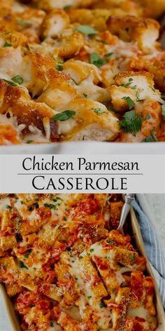 This Chicken Parmesan Casserole recipe has layers of pasta, marinara sauce, cheese, and breaded chicken. It's easy to make ahead of time and bake during a busy weeknight! #chickenbreastrecipes #pastadinner #makeaheadmeals #recipeswithchicken Easy Casserole Recipes, Crockpot Recipes, Keto Casserole, Easy Family Recipes, Simple Chicken Recipes, Soup Recipes, Shredded Chicken Recipes, Easy Family Meals, Entree Recipes
