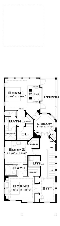 Second Floor Plan of Narrow Lot   House Plan 67538