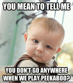 As a developmental psychologist, I can tell you that this is accurate...object permanence- look it up :)