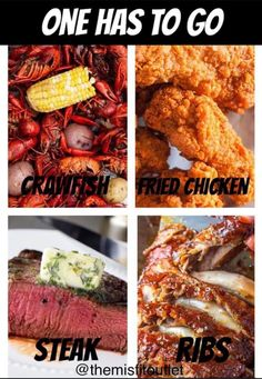 Y'all!! I am hungry ALREADY!!  Can we at least agree it's time to go out to eat today?    But for real...crawfish can go...      #sohardtodecide #sohardtochoose #pickone #crawfish #friedchicken #steak #ribs #meat #comfortfood #southernfood #fillmyplate #food