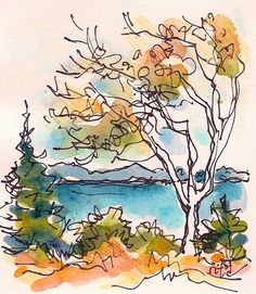 "3 X 4 "", watercolor on hot press paper with Prismacolor Tiny landscape on paper scrap, part of the ongoing Maine landsc. Watercolor Sketchbook, Watercolor Projects, Watercolor Trees, Pen And Watercolor, Watercolor Landscape, Watercolor Paintings, Watercolors, Landscape Sketch, Watercolor Pencils"
