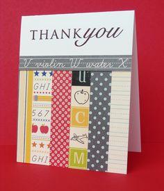 Teacher thank you card handmade cards inspiration Teacher Appreciation Cards, Teacher Thank You Cards, Graduation Cards Handmade, Handmade Cards, Teacher Christmas Gifts, Teacher Gifts, Kindergarten Gifts, Cards For Friends, Card Making Inspiration