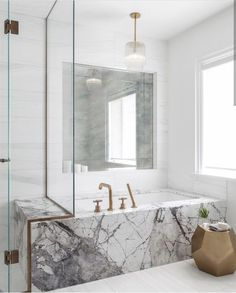 Interior design online shop elegant home accessories and decoration HOATE Layout idea bw tub surround and shower / perhaps add some sparkle w a mirror for more light bouncing Beautiful Bathrooms, Modern Bathroom, Small Bathroom, Marble Bathrooms, Marble Bathtub, Bathroom Grey, Bathroom Spa, Bathroom Vanities, Eclectic Bathroom
