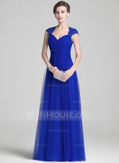 A-Line/Princess Sweetheart Floor-Length Tulle Mother of the Bride Dress With Ruffle Beading Appliques Lace Sequins (008072706)