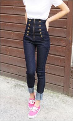 Ladies Trendy Double Breasted High Waist Skinny Jeans Pants Trousers