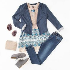 "The colour palette of the blazer and tunic is the perfect combination for denims and allows you to express your inner boho. Featuring a #Threadz tunic, jacket, & jeans, a #Manzoni pouch, and a pair of amazing #Walnut boots. Outfit: ""Laidback Luxe"" available at birdsnest.com.au #birdsnestonline"