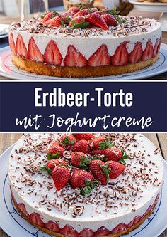 Erdbeer-Torte mit Joghurtcreme Fruity-fresh strawberry cake with yoghurt cream. Simple in the preparation, visually an eye-catcher and a highlight in terms of taste. Strawberry Cake From Scratch, Strawberry Sheet Cakes, Homemade Strawberry Cake, Fresh Strawberry Cake, Strawberry Cake Recipes, Easy Vanilla Cake Recipe, Chocolate Cake Recipe Easy, Easy Cake Recipes, Summer Cakes