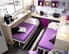 H407_ en 2,5 metros, solución para dormir y estudiar dos hermanos!! camas abatibles #rimobel