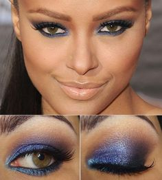 blue smokey eye with a nude lip
