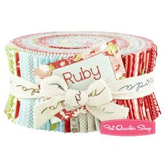 "Ruby Jelly Roll  Bonnie & Camille for Moda Fabrics   Ruby Jelly Roll includes 40 2 1/2"" strips of fabric rolled up and tied in a cute ribbon.  Jelly Roll includes duplicates of some prints."