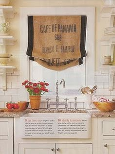 Coffee sacks refashioned into curtains. Or just burlap curtains. Farm Kitchen Ideas, Kitchen Rustic, Country Kitchen, Diy Kitchen, Rustic Kitchens, Kitchen Nook, Awesome Kitchen, Country Farmhouse, Kitchen Towels