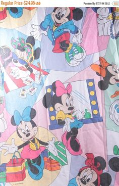 1990's Minnie Mouse Vintage Sheet Set Twin Clean Cotton Fabric Flat and Fitted Sheet Set  The Pink Room  161207 by ThePinkRoom