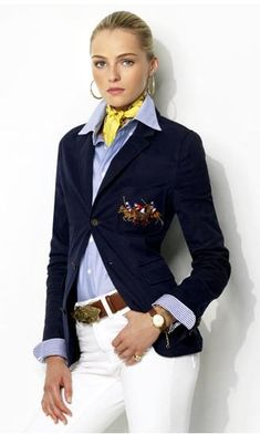 Ralph Lauren: Navy Blazer, stripe shirt