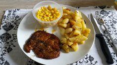 steak filet met geroosterde aardappeltjes en mais