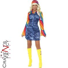 60s 70s #groovier dancer costume #disco hippy ladies hippie fancy dress #outfit,  View more on the LINK: http://www.zeppy.io/product/gb/2/191704963659/