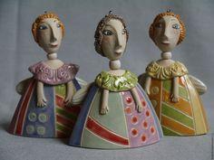 Купить колокольчик Ангел - комбинированный, колокольчик керамический, колокольчик ручной работы, ангел, ангелочек, сердечко