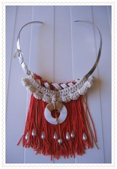 M de glaMour:  #colgante #flecos #nacar #plata #crochet #handmade