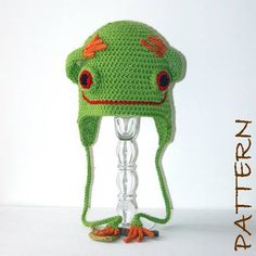Crochet Animal Hat Pattern - Thaddeus the Tree Frog Earflap Critter Hat - 4 sizes (6 months to adult). $7.95, via Etsy.