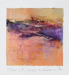 Mar. 17, 2016 - Original Abstract Oil Painting - 9x9 painting (9 x 9 cm - app. 4 x 4 inch) with 8 x 10 inch mat