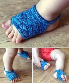 Free Knitting Pattern for Showsy Toes Baby Sandal Socks - A little extra protection and lot of extra cuteness for baby feet in the summer when it's too warm for shoes. Sizes Newborn (0-6, 6-12 months). Designed by Stephanie Lotven. Uses 20-30 yards of fingering weight yarn - great for scrap yarn.
