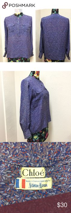 Chloe Neiman Marcus Purple Leaf Print Blouse No size Tag. Size should be medium according to measurement. See pictures for details and condition.   ❌No Trade ❌Lowball Offer Will be IGNORED&BLOCKED.  ⚡️Serious Buyer ONLY⚡️NO DRAMA! ⭐️Same/next day shipping via USPS ⚠I video record all sales from packing to shipping so we are both protected ⚠ Chloe Tops Blouses