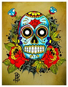 Sugar Skull Old school Tattoo Flash Print size A5 via Etsy