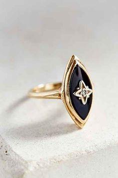 Vintage 1950s Onyx + Diamond Ring