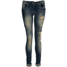 Crafted Slim Fit Cross Detail Jeans ($22) ❤ liked on Polyvore featuring jeans, pants, bottoms, calças, carpenter jeans, slim fit straight leg jeans, destroyed jeans, blue jeans and distressed jeans