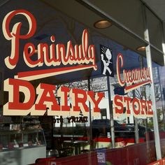 The creamery in Palo Alto. reminds me of the Pinterest Logo :)