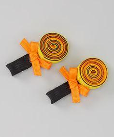 Look what I found on #zulily! Orange & Black Lollypop Hair Clip Set #zulilyfinds