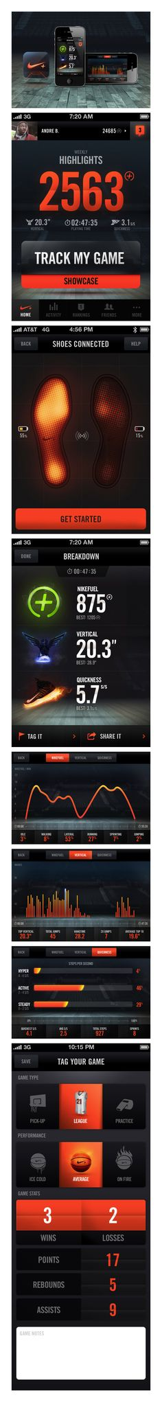 Nike+ Basketball by Jordan Fripp, via Behance.  Category: Web Design / Graphics Design / User Interface (UI)