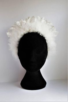Off white tulle and lace bridal crown. Bridal Crown, Bridal Lace, Special Occasion Outfits, White Tulle, Cotton Lace, Lace Detail, Headpiece, Off White, Handmade Items