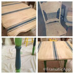 Painted drop leaf table - Chalk Paint®  by Annie Sloan, Country Grey, Napol. Blue, clear and dark wax