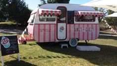 Dinky Cakes: Our Retro Candy Striped Caravan of Cupcake love at a local music event