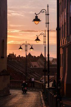 Sibiu at dusk by Marcel Ilie on Line Stone, Romania Travel, Little Paris, Luxury Homes Dream Houses, Street Lamp, Night City, Amazing Pics, City Break, Best Cities