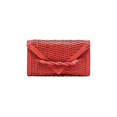 Hoss Intropia Basket weave Clutch Bags ($303) ❤ liked on Polyvore featuring bags, handbags, clutches, leather man bag, red leather handbag, leather hand bags, red hand bags and woven leather purse