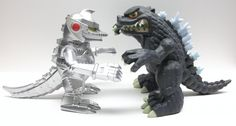 So cute! --> Godzilla & Mecha Godzilla Tokyo Vinyl Figures. WAREHOUSE FIND! No box included loose figure. Add these Chibi styled figures to your collection. Arms articulate, made of PVC vinyl. Price: $33.98