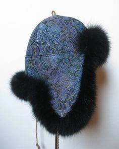 Pelshat / Pelshue. Fur hat Model Tibet, made in Christian Dior silk brocade. Black dyed fox. Handmade by Jane Eberlein, Samarkand, Copenhagen, Denmark. www.samarkand.dk