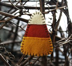 candy corn ornament wool felt autumn decoration