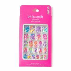 Clear Multi-Color Zebra Print Faux Nails Set of 24