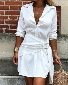 Vestido camisa sin mangas con cinturón ojival sólido