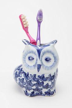 Floral Owl Toothbrush Holder
