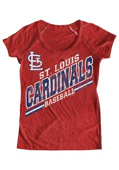 St. Louis (STL) Cardinals Women'ss Red Tri-Blend Raglan Scoop Neck Shirt by 5th & Ocean $32.99 www.rallyhouse.com