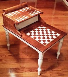Solid Wood Game Table Repurposed from Vintage Telephone Table - Complete with Handmade Checkers, Chess and Backgammon Pieces! op Etsy, 259,01 €