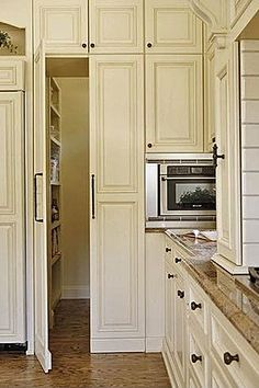 Gorgeous Pantries: Love how it's a door into the pantry, but looks like cabinites.