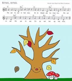 Liedje voor muziek over het bos. Er kunnen echte bladeren bij betrokken worden tijdens het zingen voor de sfeer. (Blaadjes ritselen)