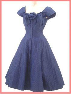 50 de Blue XS Armada punteada de la falda del vestido lleno de 1950 vestidos del vintage - Blue Velvet Vintage